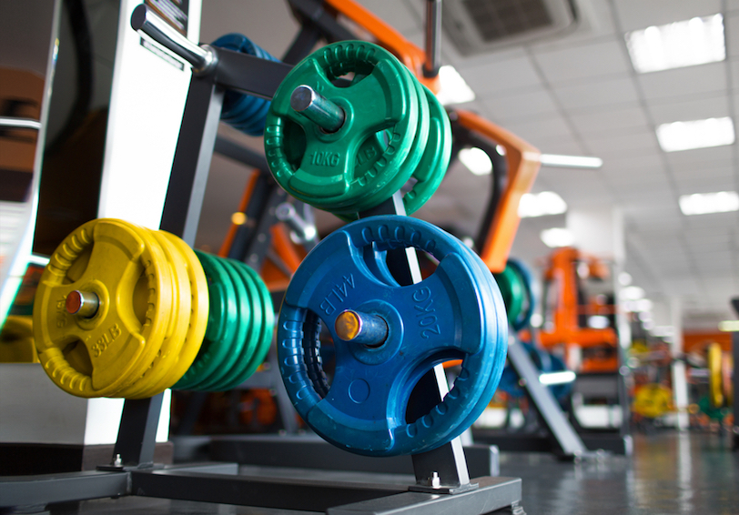 Rack of multi-colored weight plates