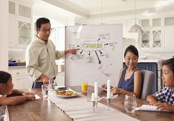Family sitting around table looking at white board with chores written on it and snack on table