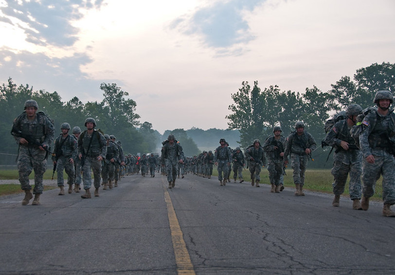Road march. US Army photo.