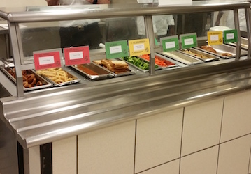 Cafeteria with correct food cards displayed