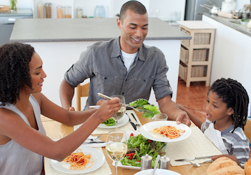 Family eating healthy meal together