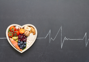 Heart made with healthy food and ekg line.
