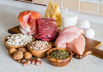 Group of high protein foods such as meats, dairy, eggs, beans and nuts on kitchen counter