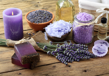 Lavender candles, soap, herbs, salts, and oil