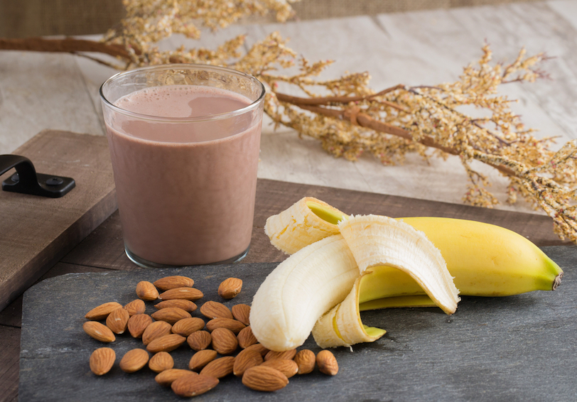 Banana, almonds, and chocolate milk