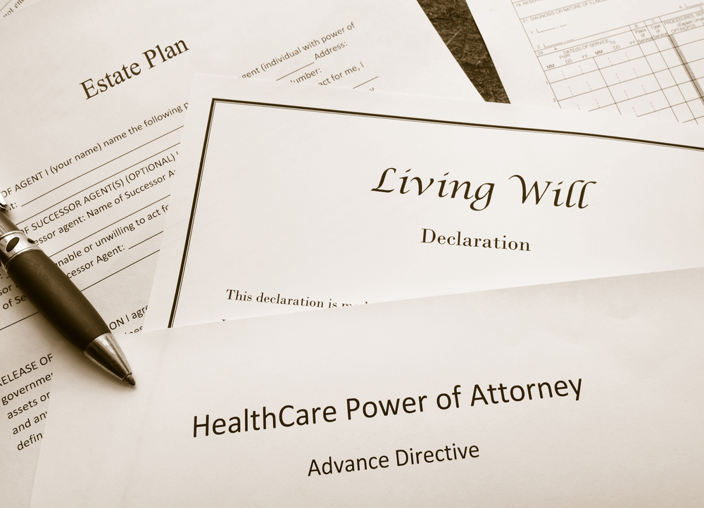 Will, living will, healthcare power of attorney