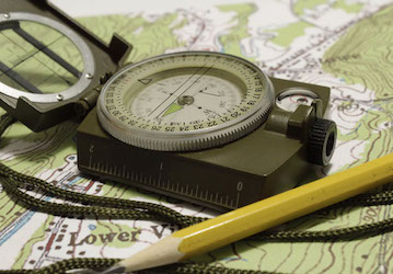 Land nav map and compass