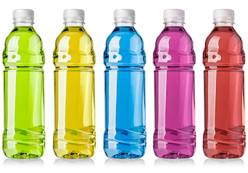 Five clear bottles each filled with a different color liquid
