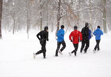 people running in snow