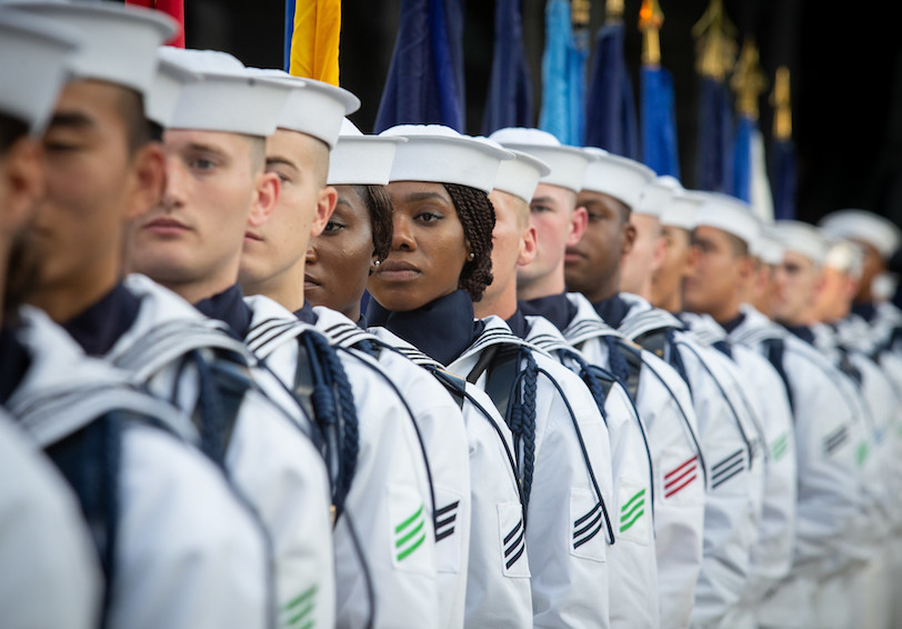 U.S. Sailors assigned to the U.S. Navy Ceremonial Guard wait to parade the colors. (U.S. Navy photo by Mass Communication Specialist 1st Class Paul L. Archer)