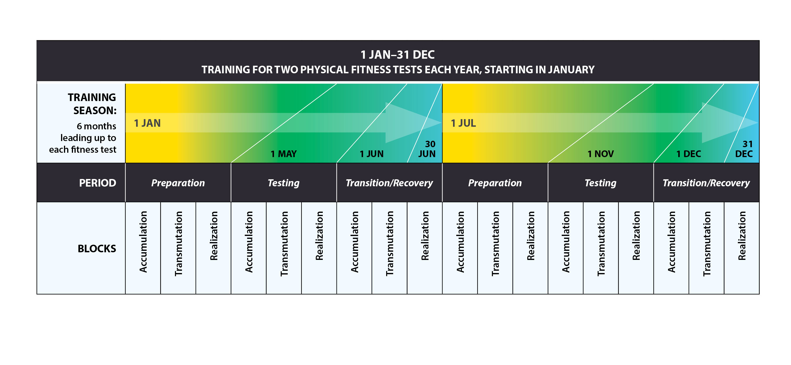 The periodization table identifies the preparation, testing, and transition/recovery periods for the 6-month training season leading up to each physical fitness test. Training is for two physical fitness tests each year, starting in January.