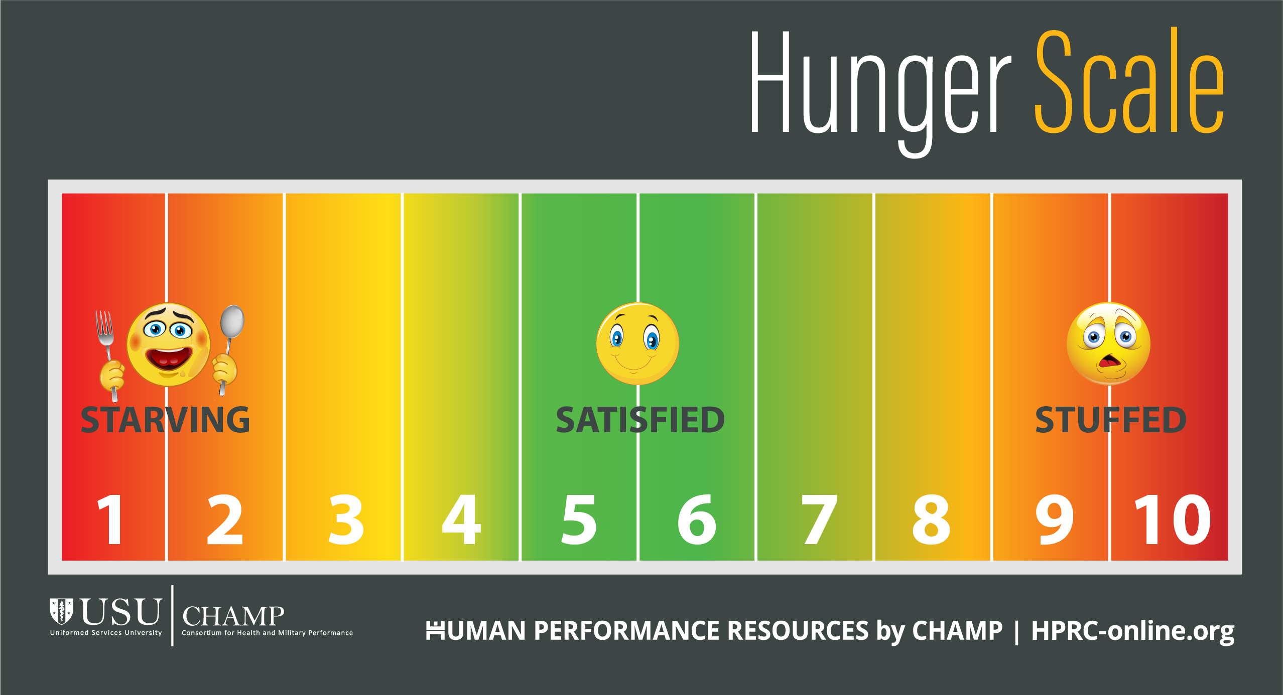 HPRC's Hunger Scale tracks hunger and fullness on a scale from 1 to 10. A rating of 1 or 2 means you feel like you're starving. A rating of 5 or 6 means you feel satisfied. A rating of 9 or 10 means you feel stuffed.
