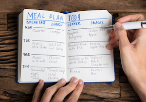 Page from meal planning journal