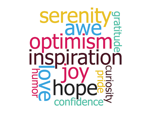Word cloud: gratitude, joy, serenity, curiosity, pride, awe, hope, humor, inspiration, optimism, confidence, love.