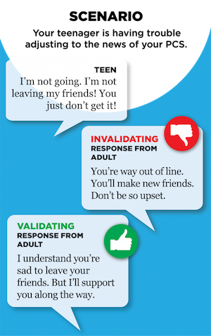 "Scenario: Your teenager is having trouble adjusting to the news of your PCS. Teen: ""I'm not going. I'm not leaving my friends! You just don't get it!"" Invalidating response from adult: ""You're way out of line. You'll make new friends. Don't be so upset."" Validating response from adult: ""I understand you're sad to leave your friends. But I'll support you along the way."""