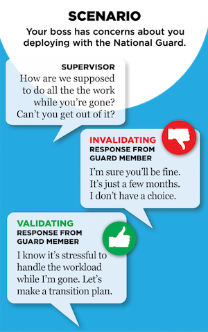 "Scenario: Your boss has concerns about you deploying with the National Guard.  Supervisor: ""How are we supposed to do all the work while you're gone? Can't you get out of it?"" Invalidating response from Guard member: ""I'm sure you'll be fine. It's just a few months. I don't have a choice."" Validating response from Guard member: ""I know it's stressful to handle the workload while I'm gone. Let's make a transition plan."""