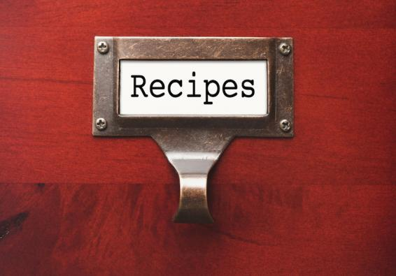 "Drawer with ""Recipes"" label"