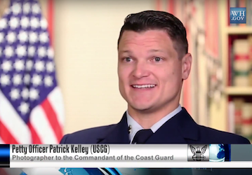 Still from video showing Petty Officer Patrick Kelley  USCG   Photographer to the Commandant of the Coast Guard