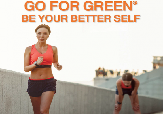 Go for Green. Be your better self. Woman running with another image of her leaning down out of breath.
