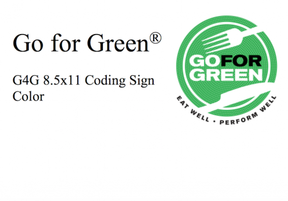 Go for Green. G4G 8.5 x 11 Coding Sign Color. Go for Green logo.