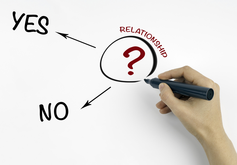 "Hand circling ""?"" with word ""RELATIONSHIP"" outside the circle and arrows pointing to ""YES"" and ""NO"""