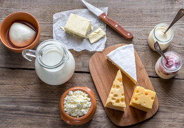 Various dairy items