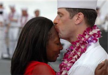 Sailor kisses his wife