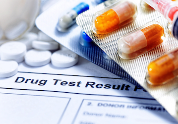 Drug test result form and pills