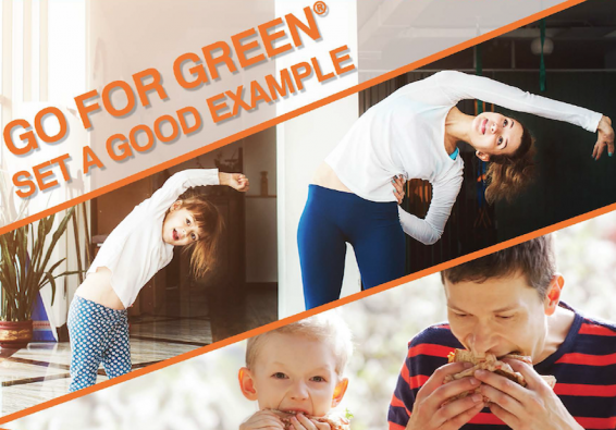Go for Green. Set a good example. Woman and girl doing yoga. Man and boy eating sandwiches.