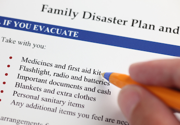 Family disaster plan checklist