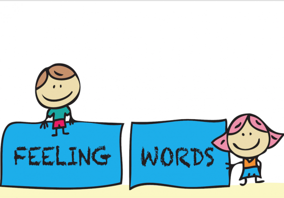 "Drawing of kids with signs saying ""Feeling"" and ""Words"""