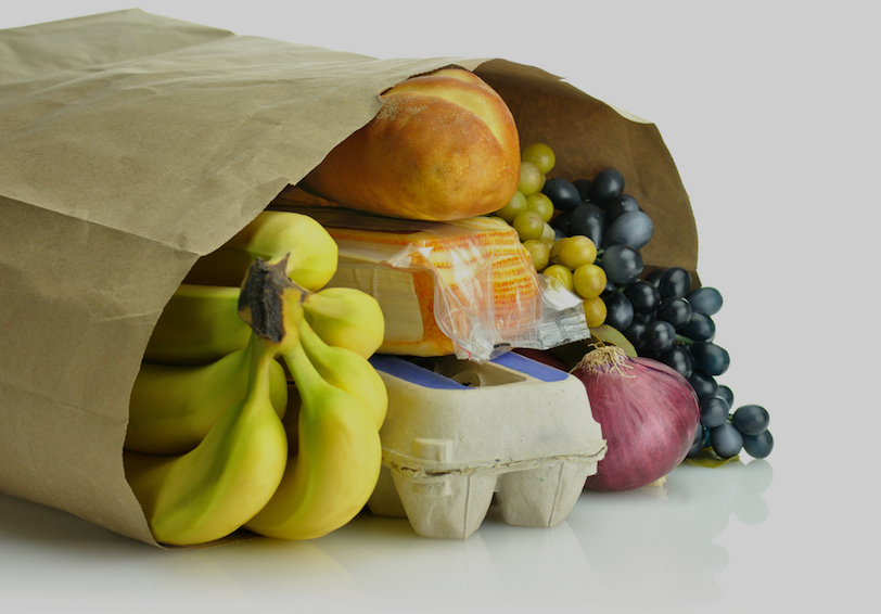 Grocery sack containing food