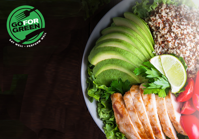 Go for Green logo. Bowl of healthy food - avocado, baked chicken, tomatoes, quinoa.