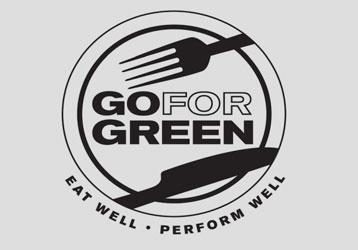 Go for Green logo  Eat well  Perform well  Plate with fork and  knife