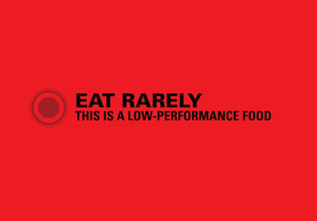Red    stop    octagon symbol  Eat rarely  This is a low-performance food