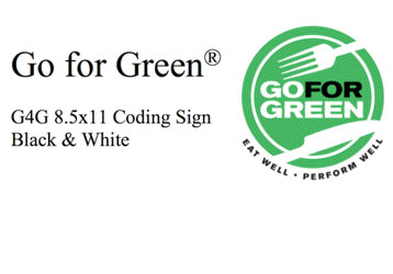 Go for Green. G4G 8.5 x 11 Coding Sign Black & White. Go for Green logo.