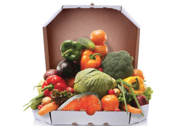 Pizza box filled with healthy foods