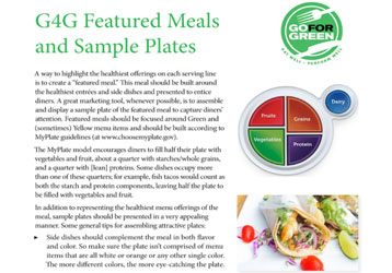 Thumbnail of first page of G4G Featured Meals and Sample Plates document