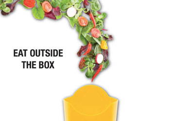 Healthy food going into a french fry container
