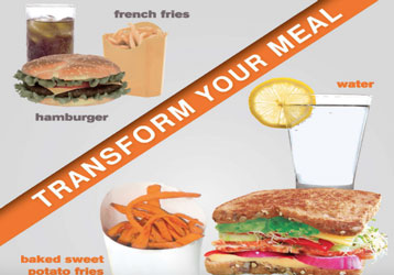Transform your meal  Unhealthy meal on one side and healthy equivalent meal on other side