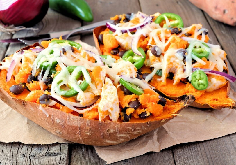 Baked sweet potato with toppings