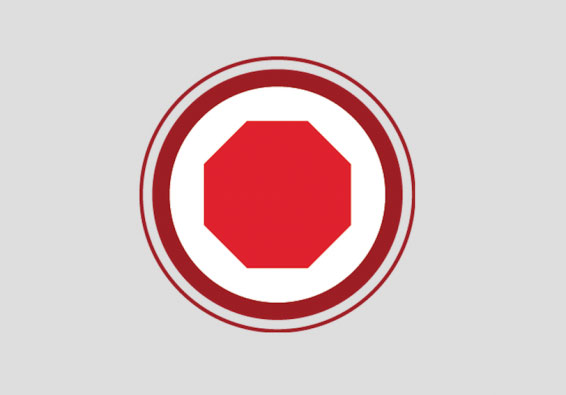 "Red ""stop"" octagon symbol"