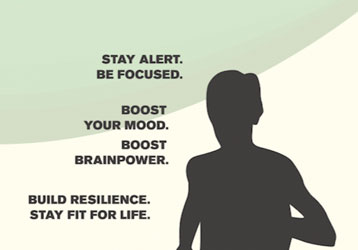 Stay alert  Be focused  Boost your mood  Boost brainpower  Build resilience  Stay fit for life