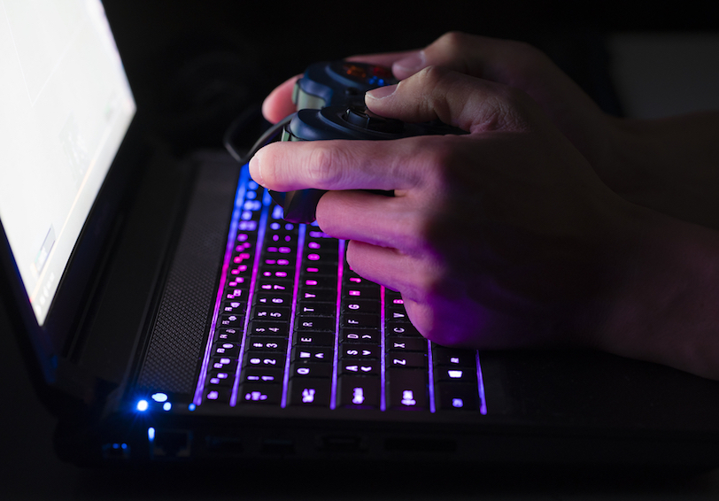 Person playing video game on computer