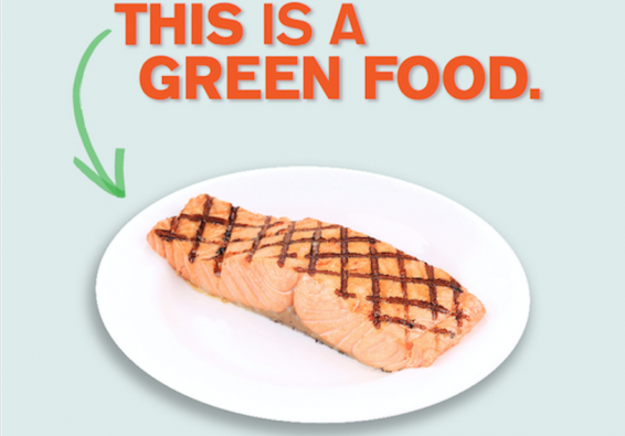 This is a green food. Portion of poster.