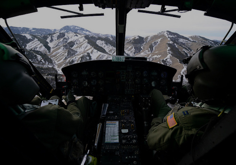 View out front of a helicopter. U.S. Air Force photo by Airman 1st Class Dillon Johnston/Released