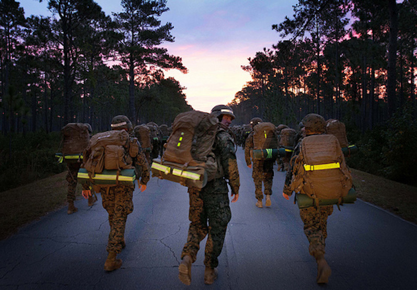 Marines ruck into the sunrise (U.S. Marine Corps photo by Pfc. Eric T. Keenan/Released)
