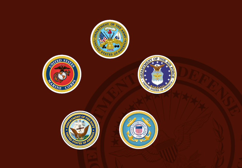 Seals of U.S. Army, U.S. Marine Corps, U.S. Air Force, U.S. Navy, & U.S. Coast Guard overlaid on background with DoD seal.