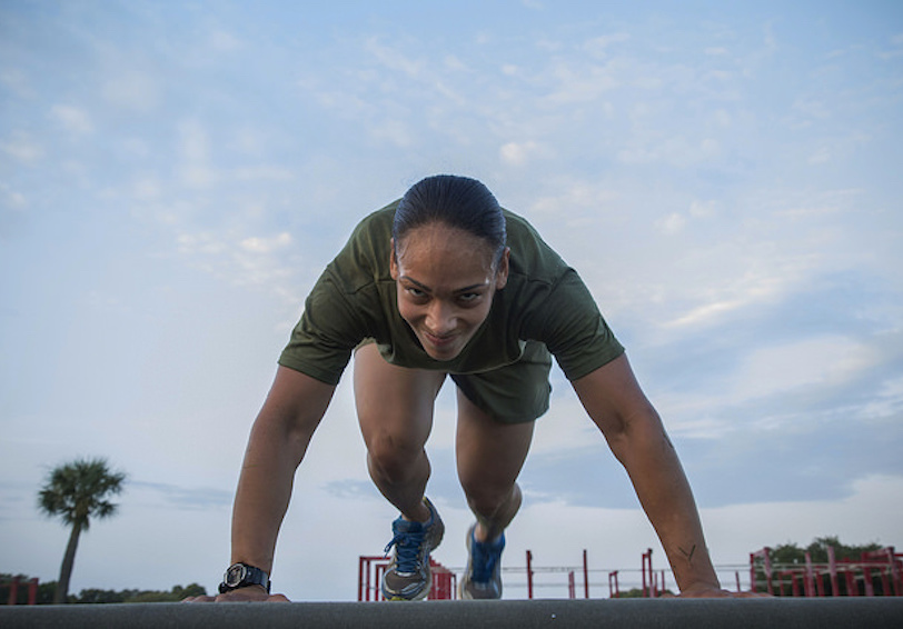 A Marine performs mountain climbers (U.S. Marine Corps photo by Lance Cpl. Mackenzie B. Carter/released)