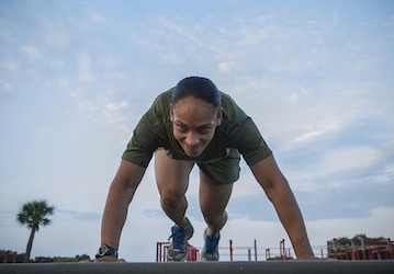 A Marine performs mountain climbers  U S  Marine Corps photo by Lance Cpl  Mackenzie B  Carter released